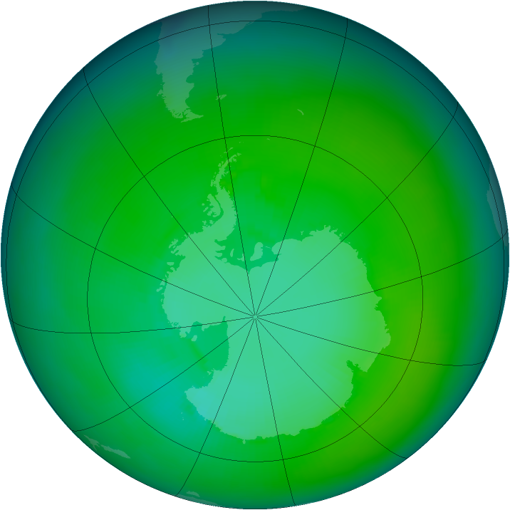 Antarctic ozone map for January 1984